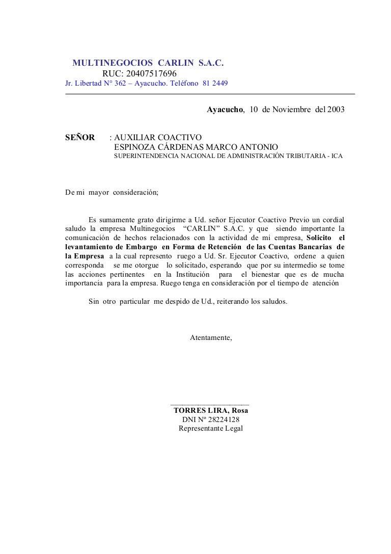 Carta sunat for Solicitud de chequera