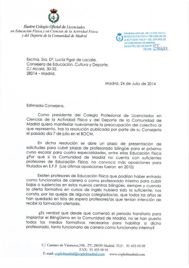 Carta a la Consejera Educación (Lucía Figar). Bolsa interinos para ce…
