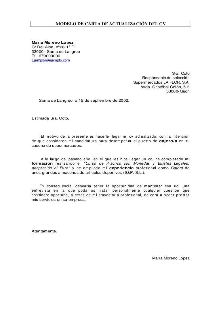 Carta de actualización de cv