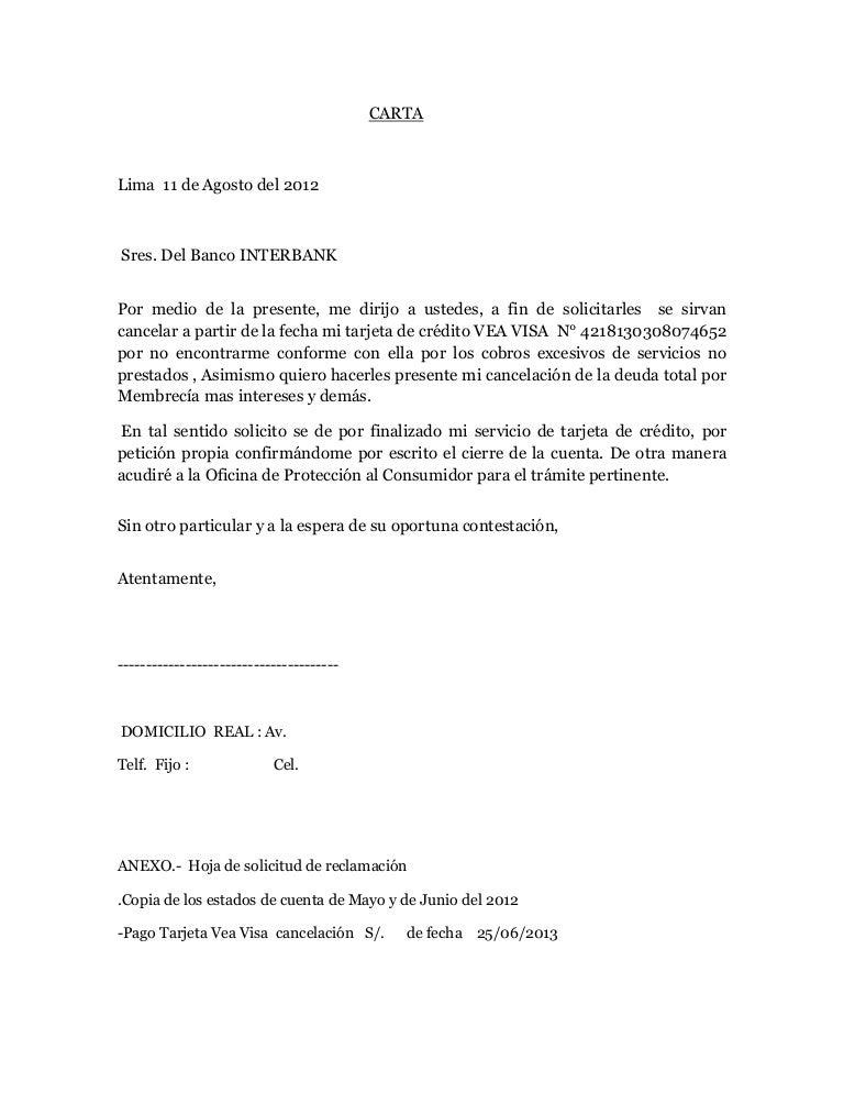 Carta De Cancelacion De Tarjeta De Credito