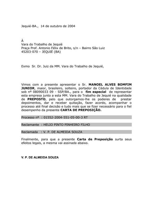 Carta De Preposto