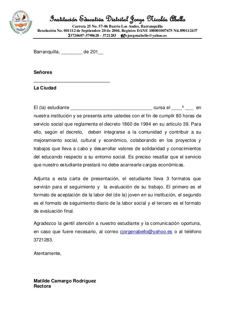 formato carta de presentaci u00d3n estudiantes trabajo social