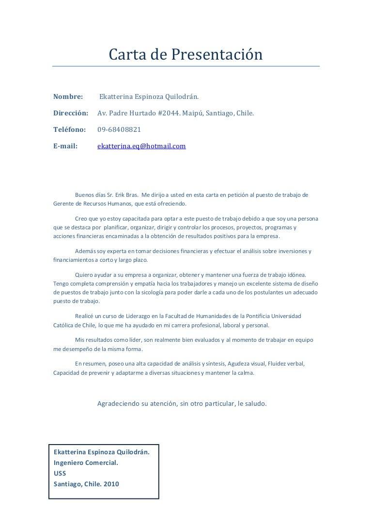 Carta de presentación pdf