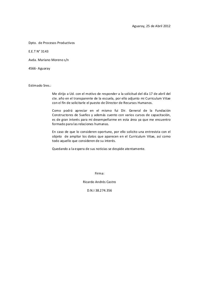 Fantástico Ejemplo De Carta De Presentación Del Currículum Para El ...