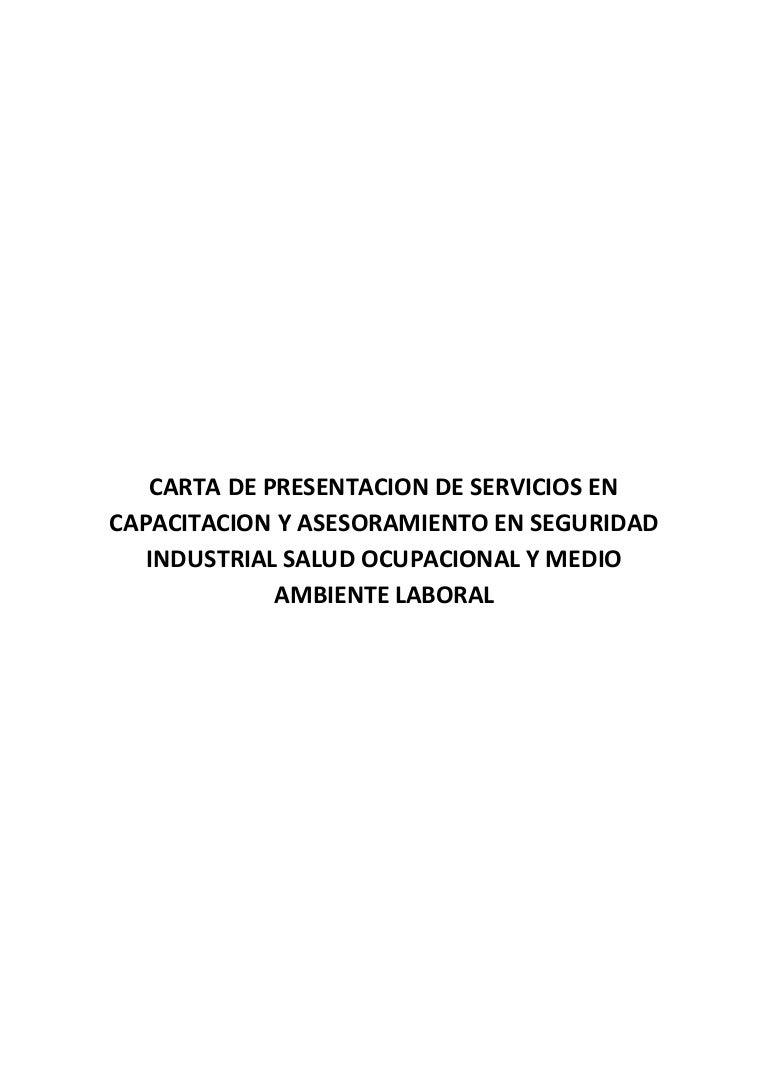 Carta de presentacion de servicios en capacitacion y asesoramiento en…