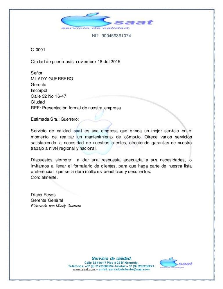 Carta De Presentacion Empresa Saat