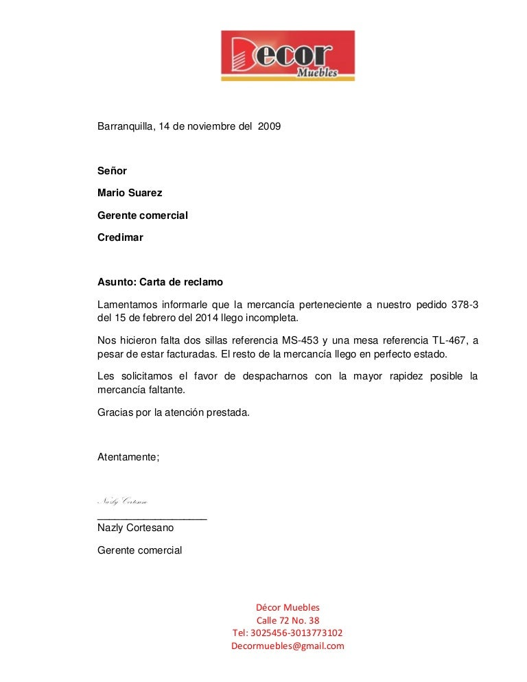 carta de reclamo devolucion de dinero