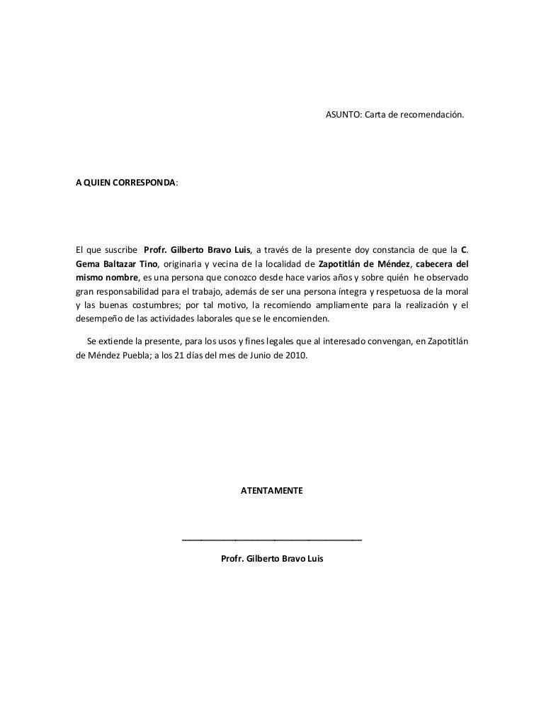 formato carta referencia personal