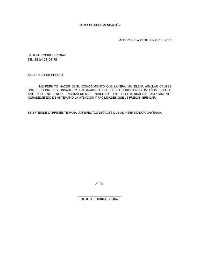 carta de recomendaci u00f3n