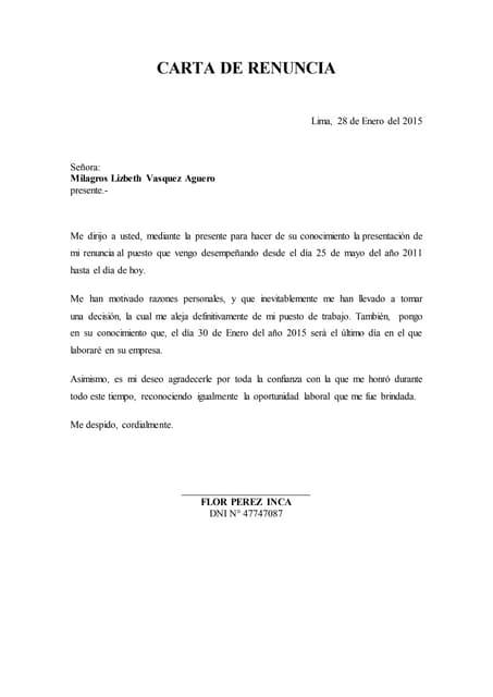 Publicar Una Carta De Renuncia Voluntaria Word Venezuela