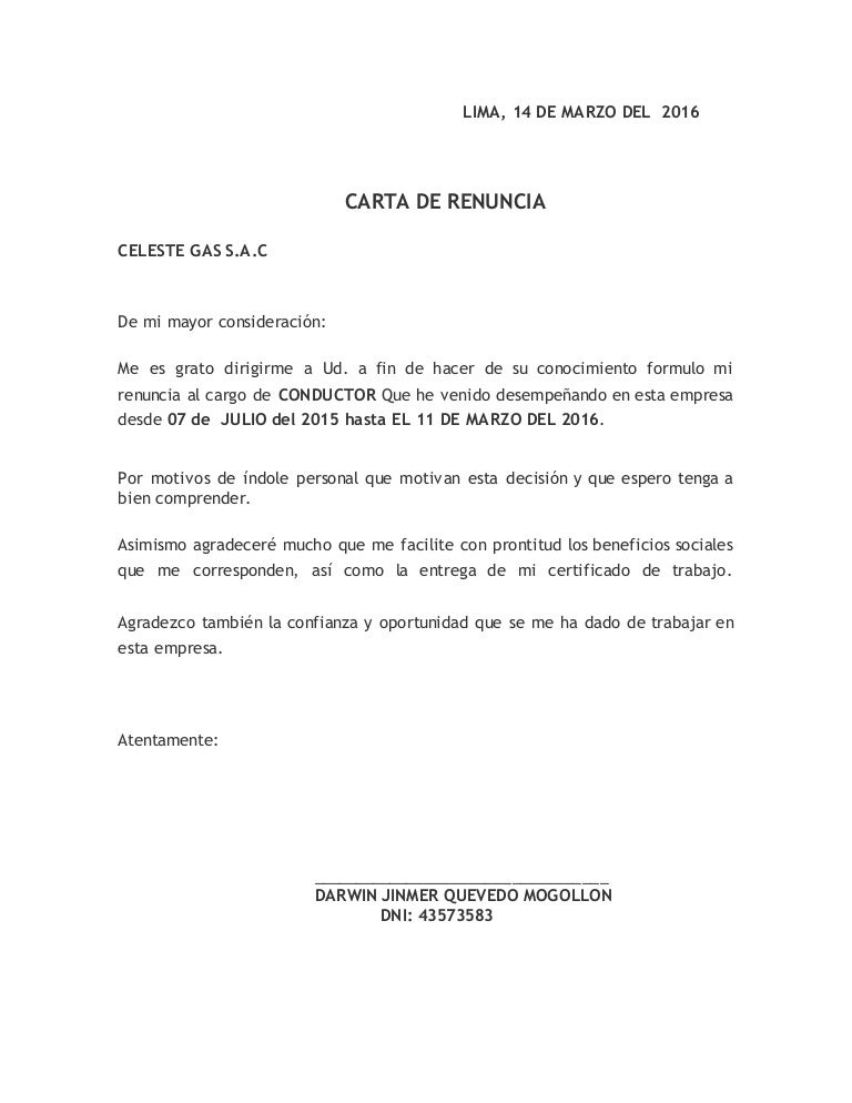 Formatos De Cartas De Renuncia Voluntaria En