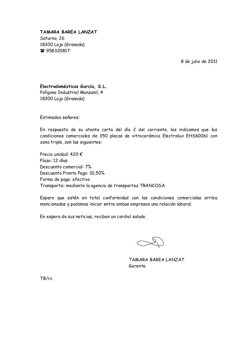 Carta De Presentacion Comercial Ejemplo Modelo de Carta De ...