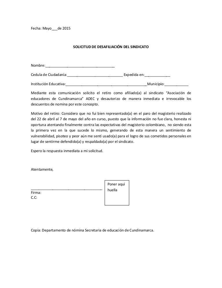 Carta desafiliacion sindicato