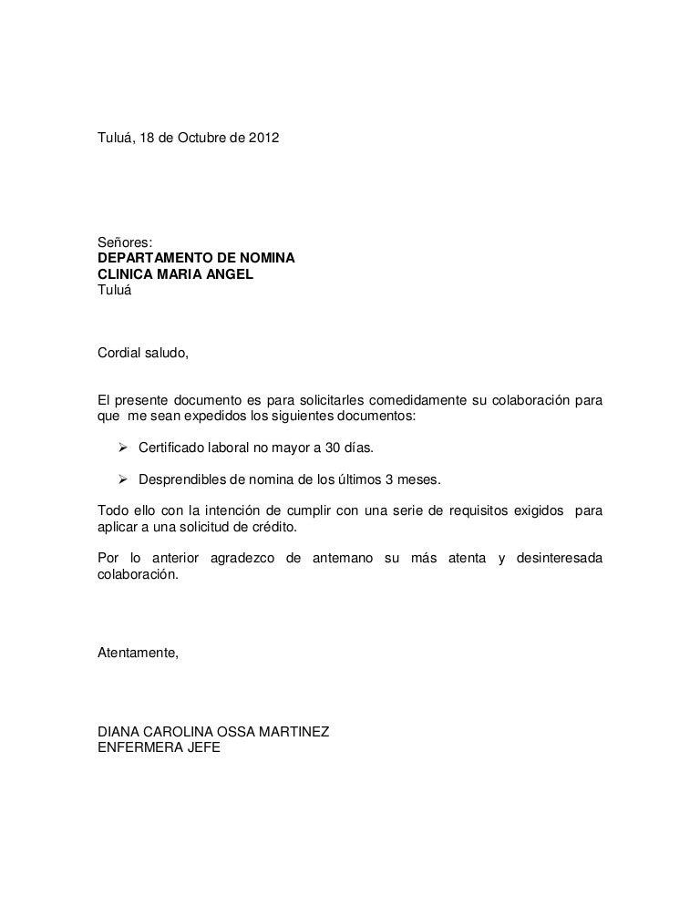 Carta de solicitud certificados laborales for Solicitud de chequera