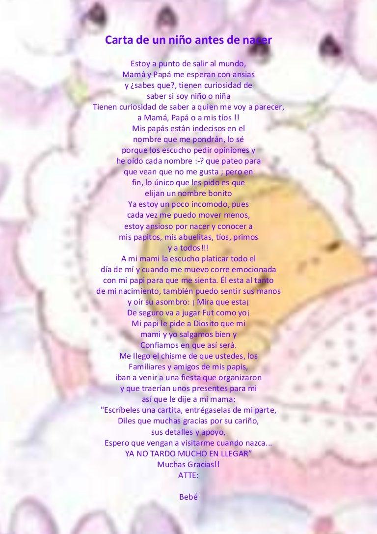 Carta De Un Niño Antes De Nacer