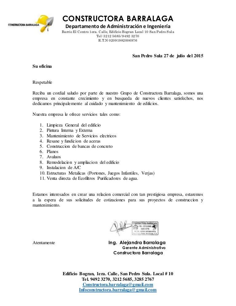 carta formal presentacion empresa