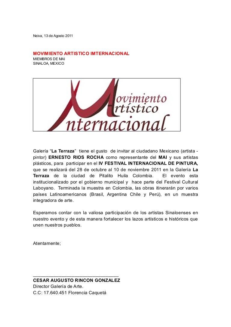 Carta invitacion artista mexicano