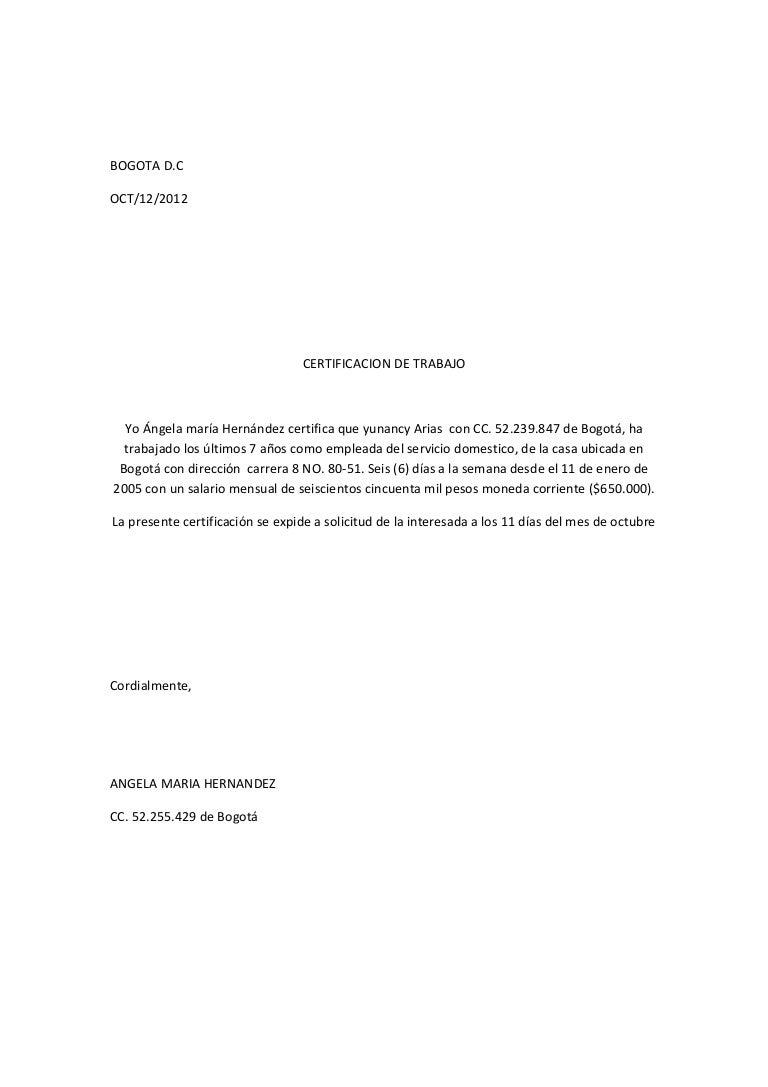 Carta laboral for Contrato laboral para empleadas domesticas