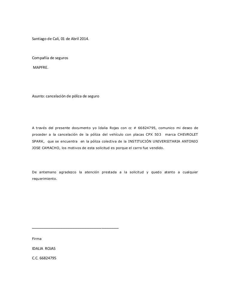 cartas de cancelacion de seguros Carta mapfre idalia1
