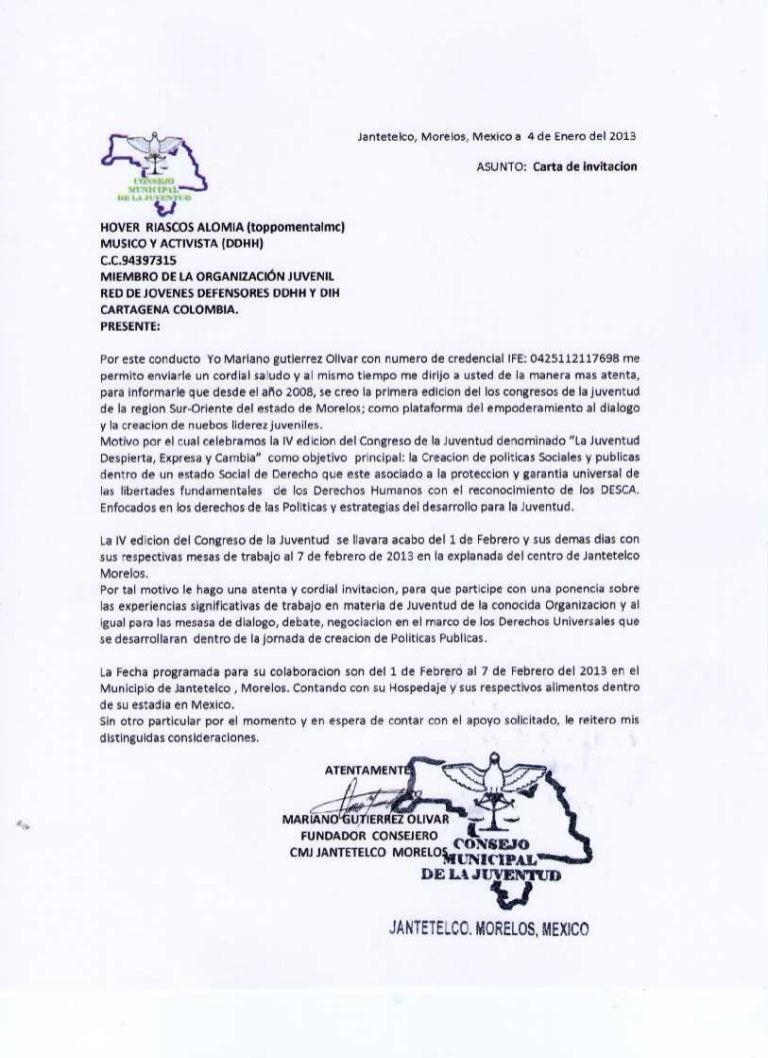 Carta Morelos, México Hover invitación 094