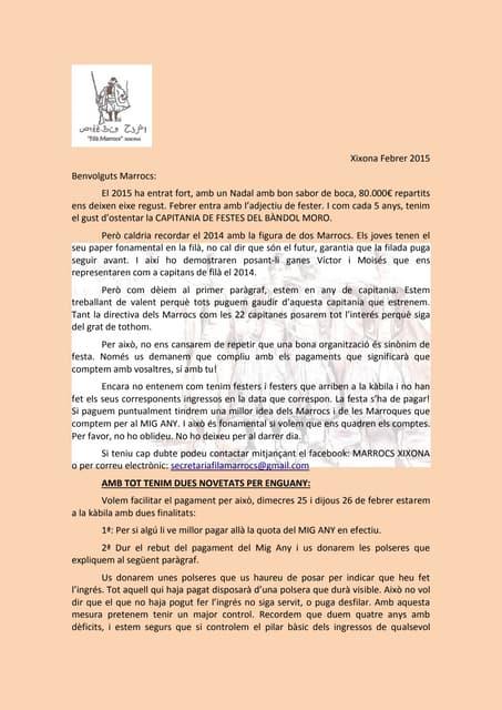 CARTA FILÀ MARROCS DE XIXONA MIG ANY 2015 AMB COMPTERS CORRECTES