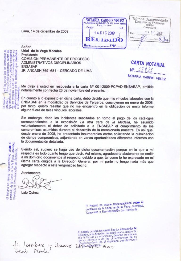 Modelo De Carta Notarial Por Devolucion De Dinero Peru