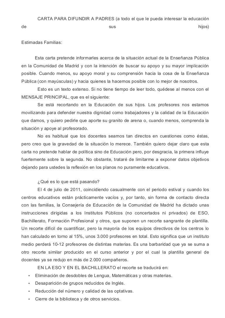 Carta para difundir a padres