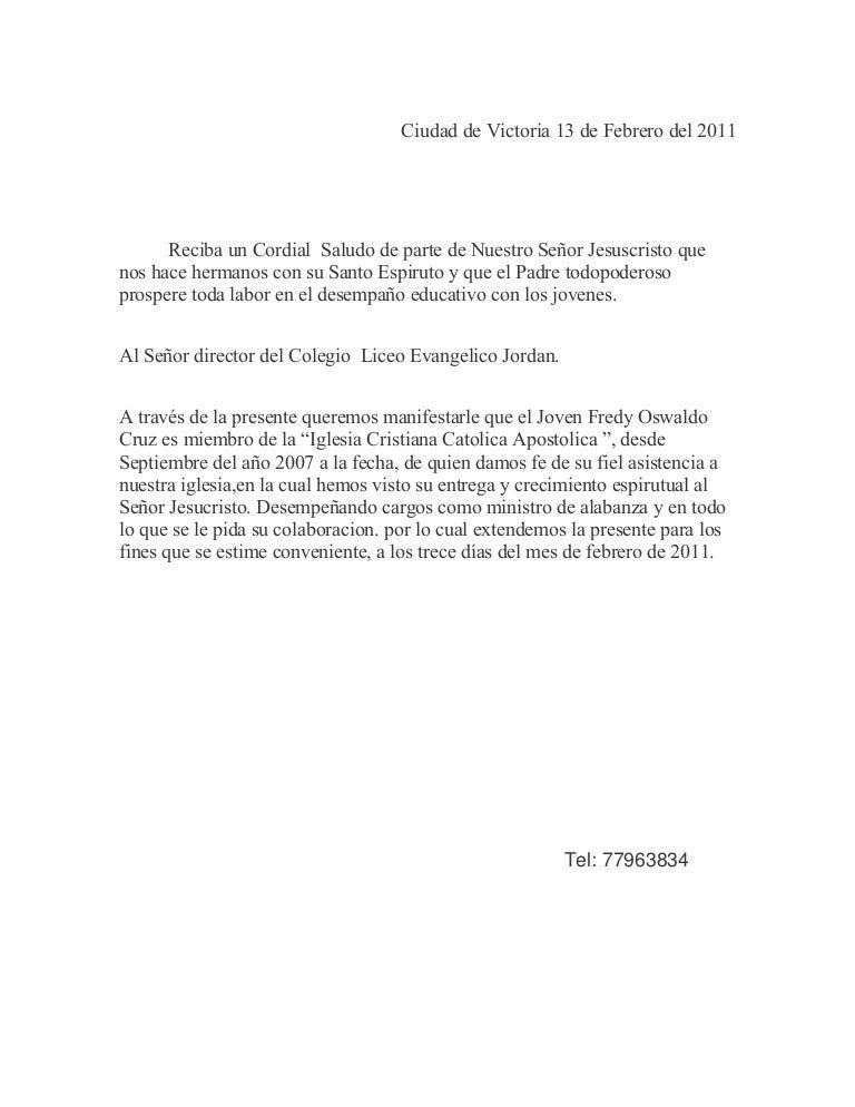 formato de una carta de trabajo para el consulado
