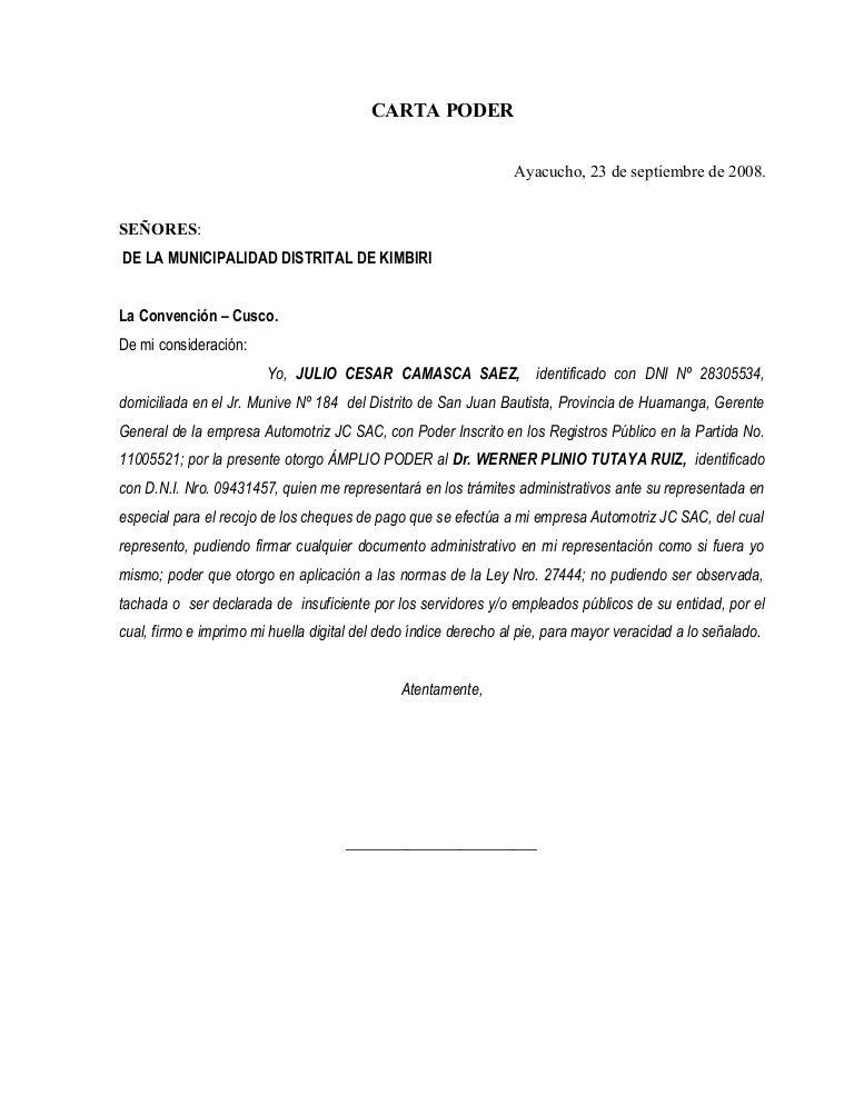 Carta poder for Solicitud de chequera