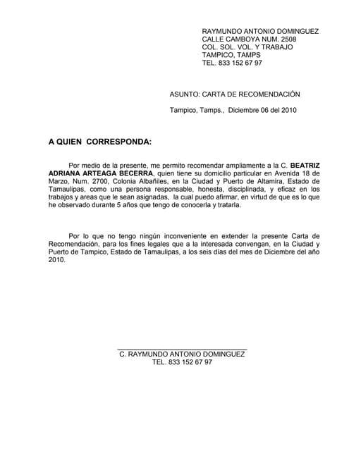 Carta de Recomendacin E U I T Forestal Madrid