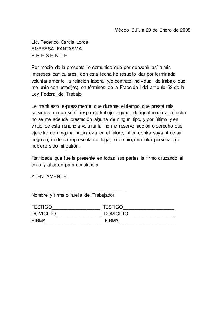 modelo de carta de renuncia mexico carta de renuncia formatos y