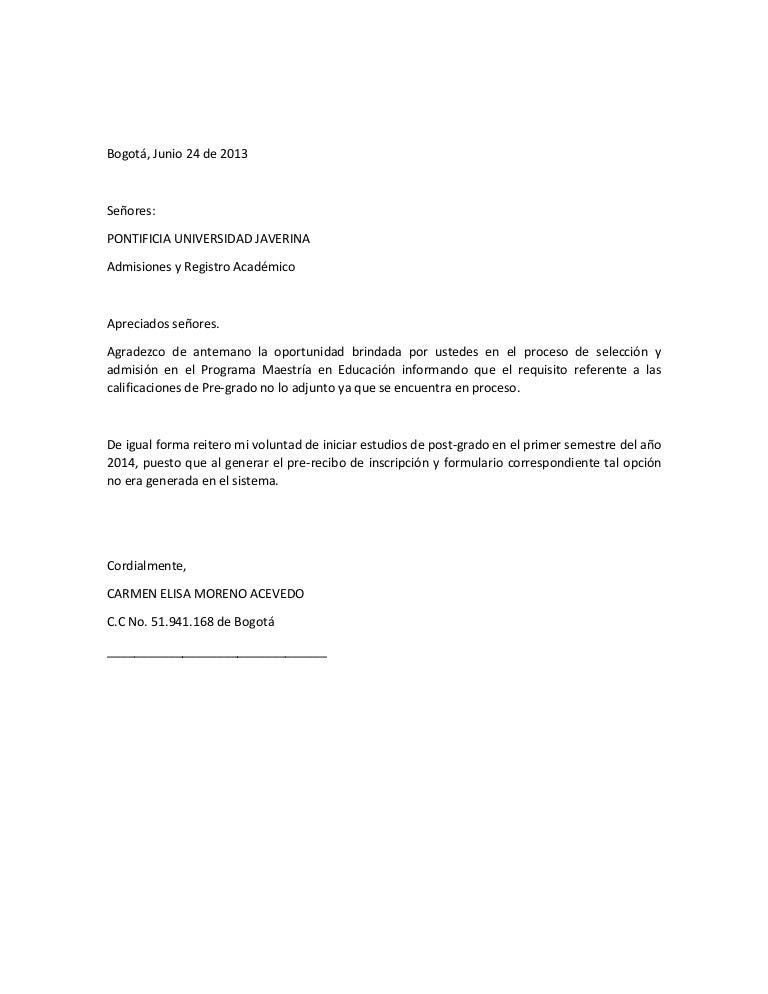 Carta requisitos maestría