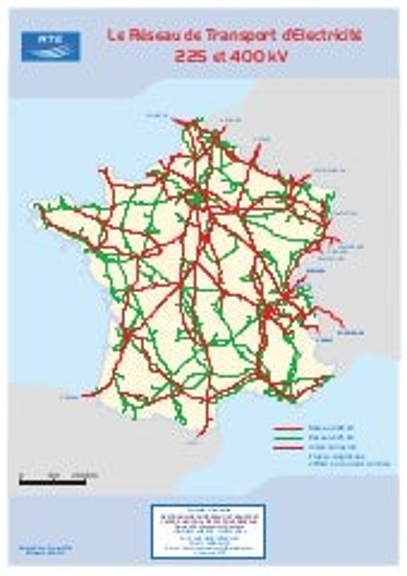 Carte du réseau électrique haute tension en France
