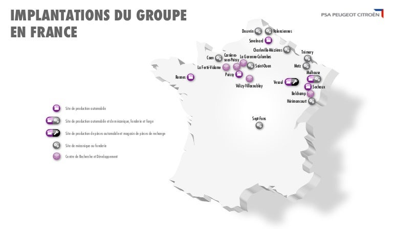 carte des implantations de psa peugeot citro n en france. Black Bedroom Furniture Sets. Home Design Ideas