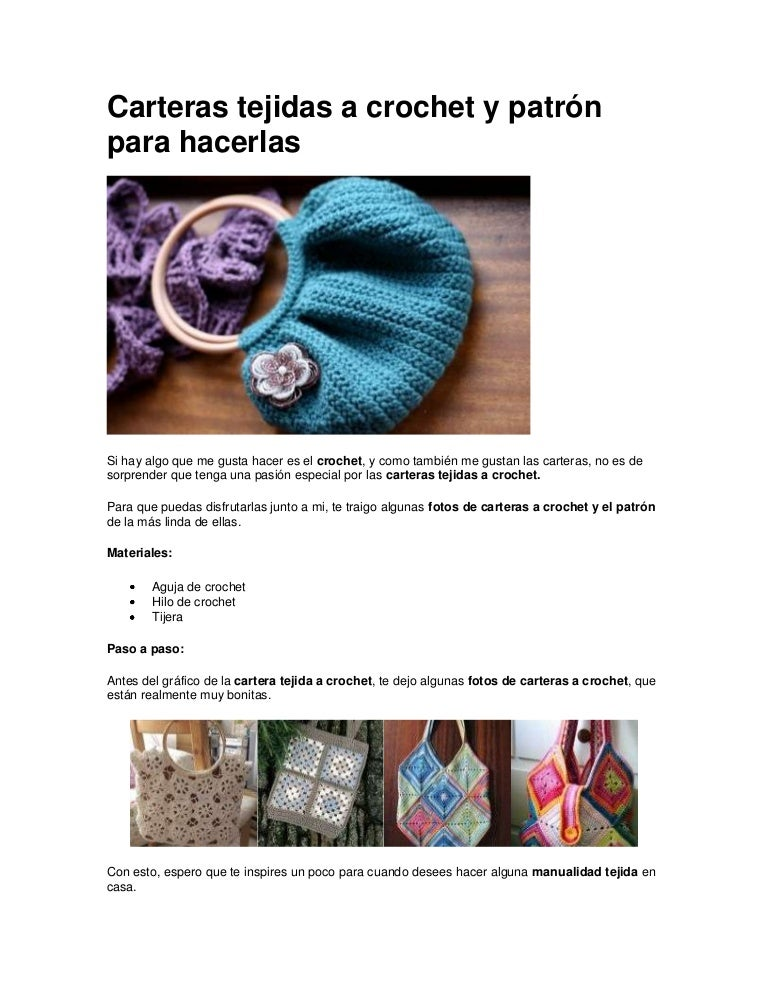 Carteras tejidas a crochet y patrón para hacerlas en macrame