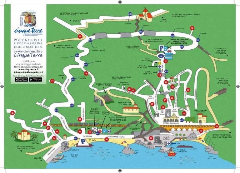 Map of monterosso al mare cinque terre for Appart hotel 5 terres