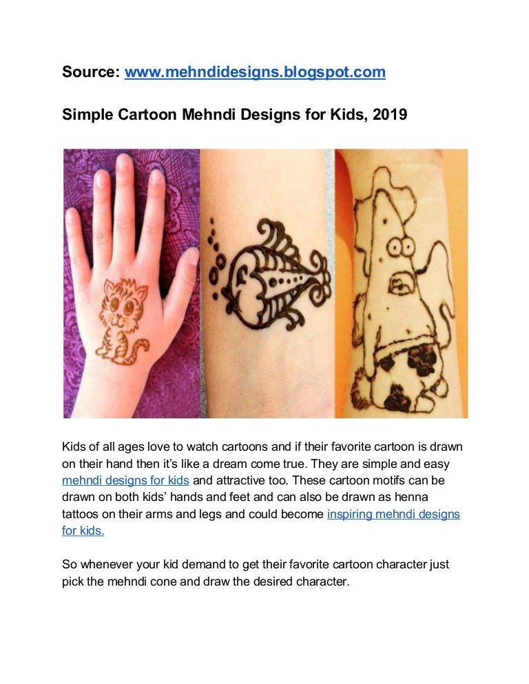 Simple Cartoon Mehndi Designs For Kids 2019,Wood Design And Technology Projects For Secondary School