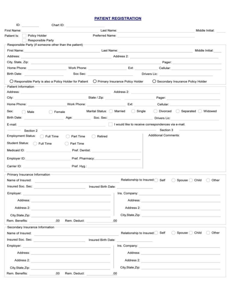 Cary Dental Rejuvenation  Patient Registration Form