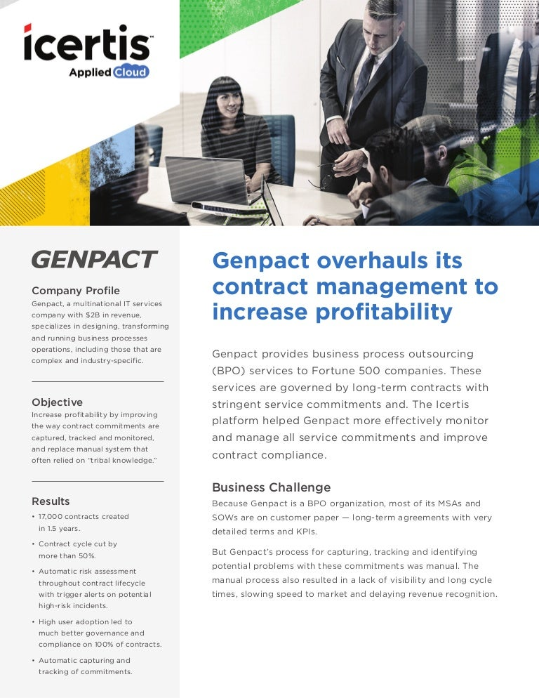 Genpact Implements Icertis Contract Management Software To Automate A…