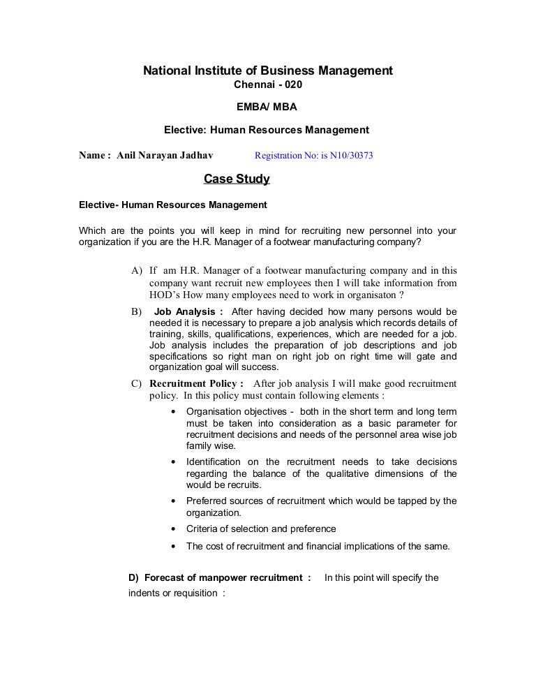Case study examples human resource management & Write My Research
