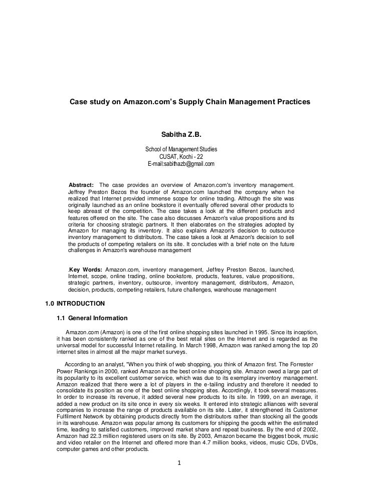 Case study on amazon com's supply chain management practices