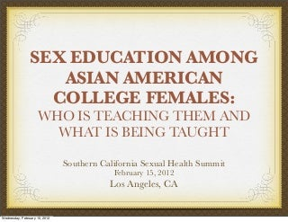Sex Education among Asian American College Females: Who is teaching them and what is being taught