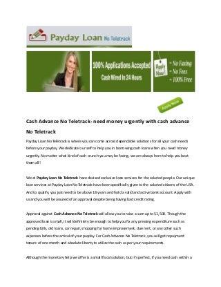 Cash advance no teletrack