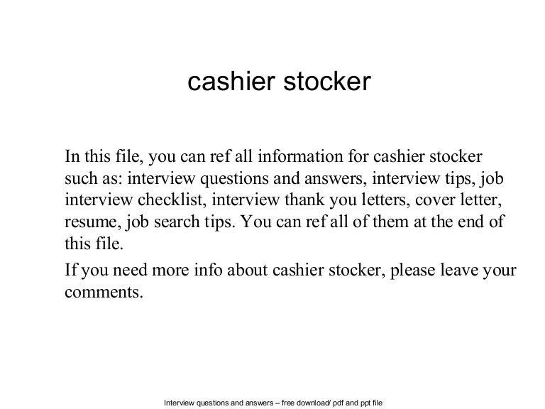 Cashier stocker – Stocker Job Description