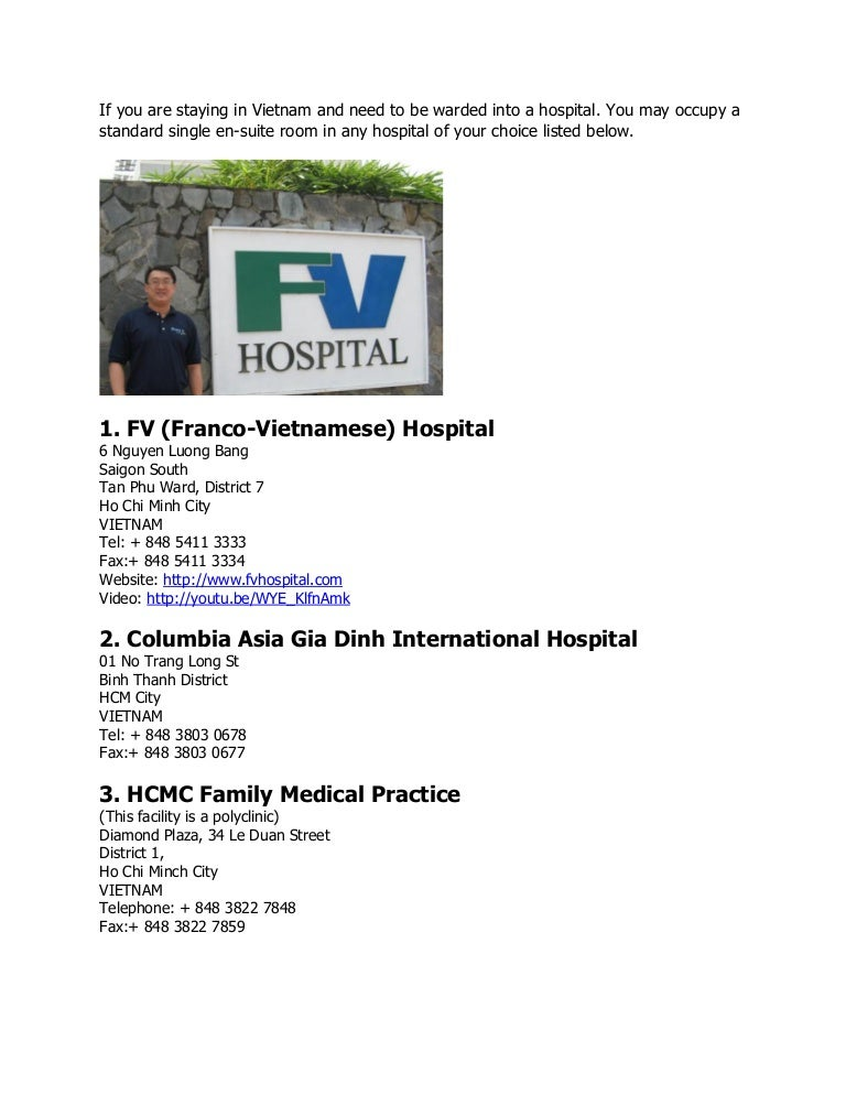 Vietnam Hospital or Clinics Network with Bupa
