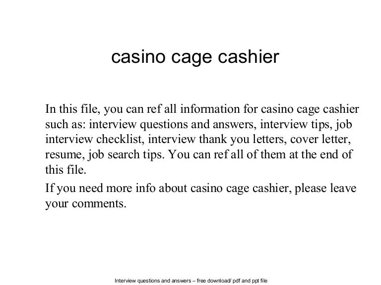Cage Cashier | Resume CV Cover Letter