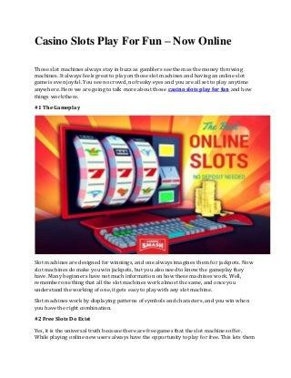 Casino slots play for fun