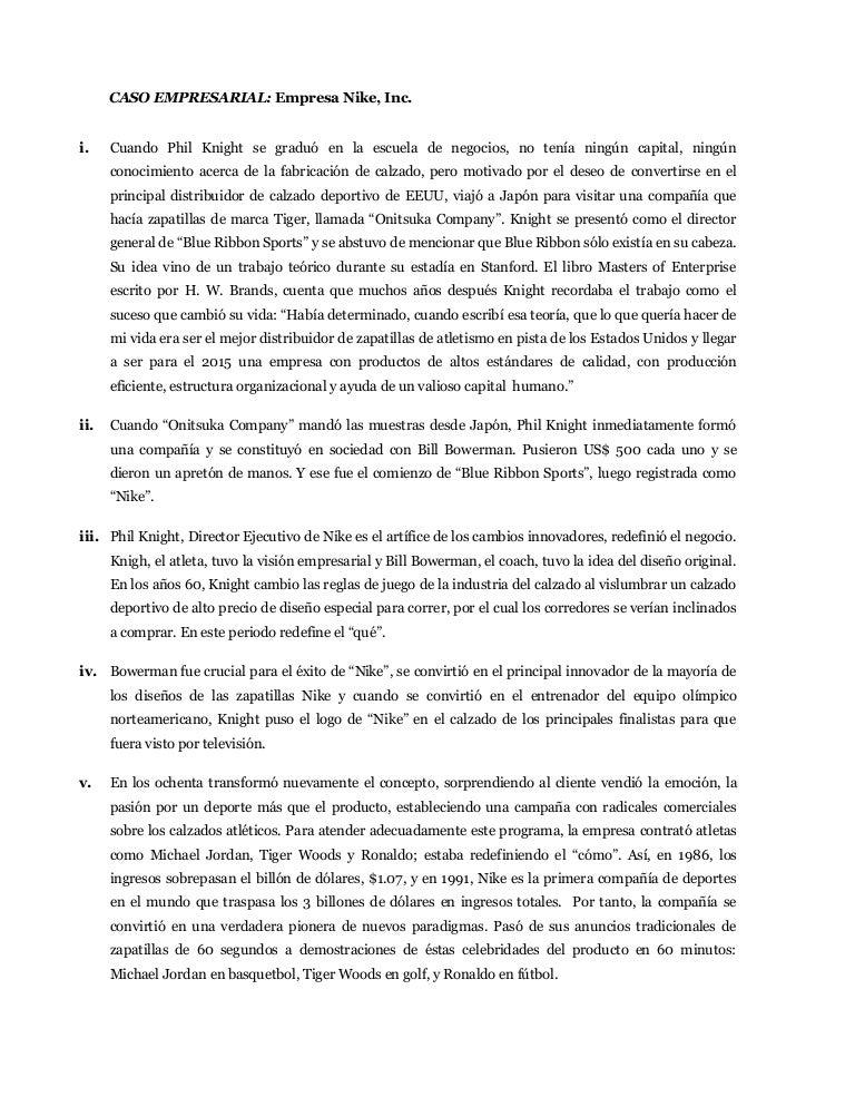 aeronave Ceder Decisión  Caso empresarial nike, inc.