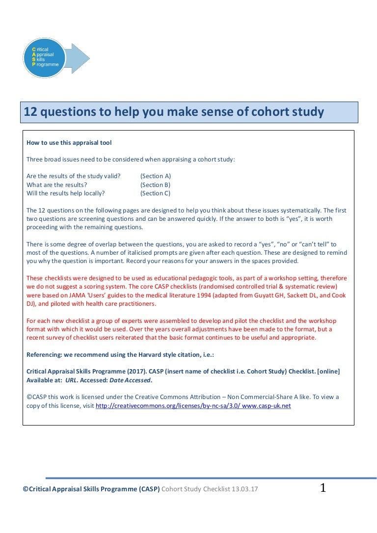 CASP Checklists - CASP - Critical Appraisal Skills Programme