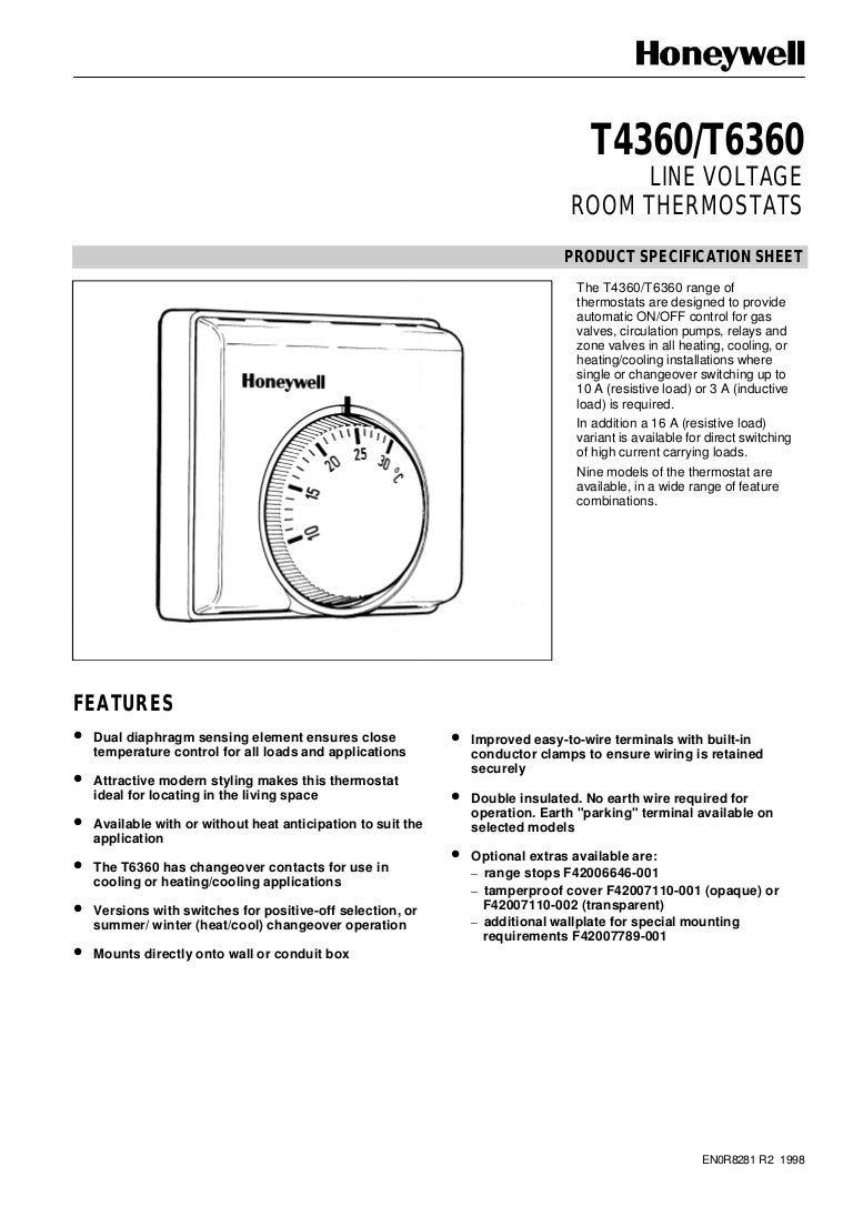Catalog B iu khin Nhit Thermostat Honeywell T6360